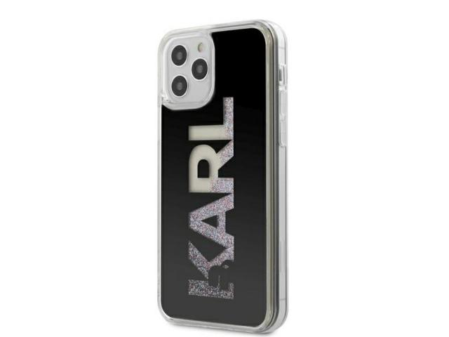 KARL LAGERFELD - Coque Karl Logo Glitter noire pour iPhone 12 & 12 Pro