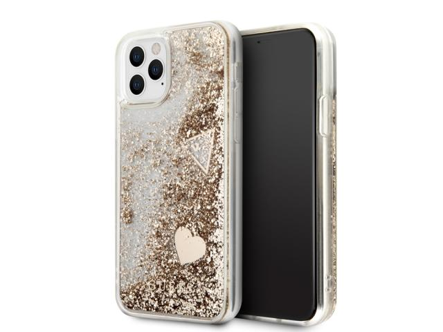 Coque Guess Hearts à paillettes flottantes pour iPhone 11 Pro - Or