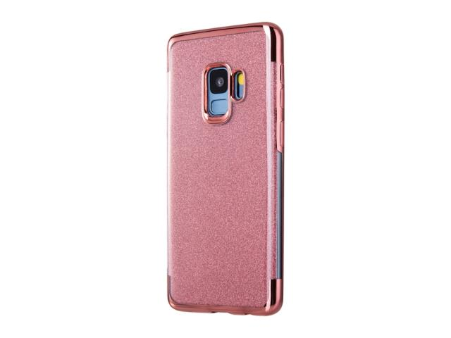 Coque TPU pour Samsung Galaxy S9 - Design pailletté rose